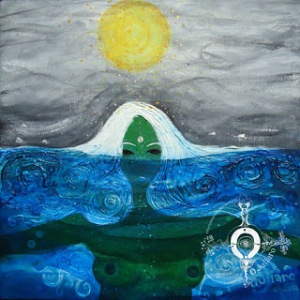Mujer verde bajo el agua. By Paloma Ilustrada